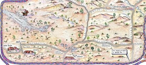 Hand drawn pictorial map of the Red Centre of Australia