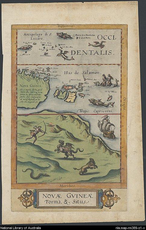 Map of Australia by de Jode 1593