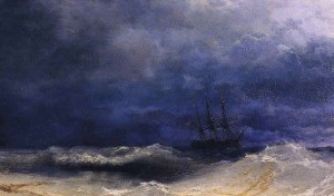 Sailing in a stormy sea