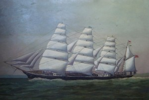 Clipper sailing ship painting
