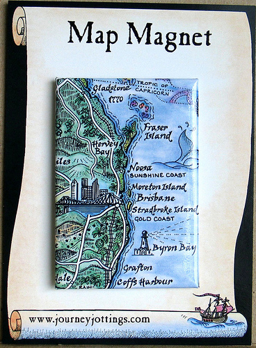Map Magnet showing the Queensland coast from Brisbane to Fraser Island