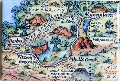 Purnululu marked on the map magnet of the Kimberleys in Western Australia