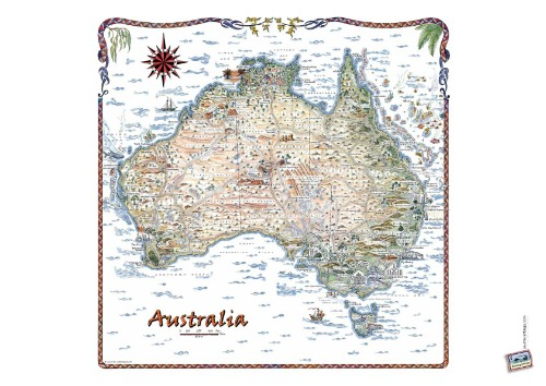 Australia Square Map on A4 sheet