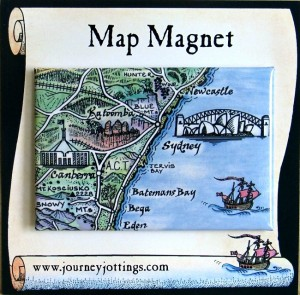 Sydney Map Magnet Australia on backing card