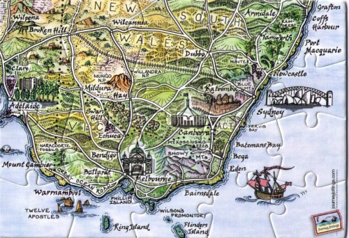 SE Australia Map Postcard