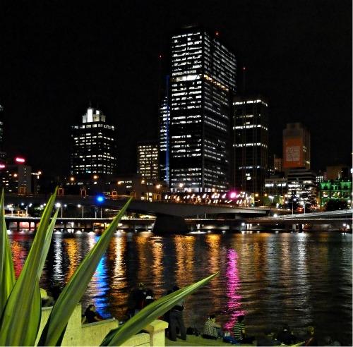 Brisbane at Night by Victoria Bridge