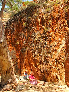 Sitting down to sketch in Standley Chasm