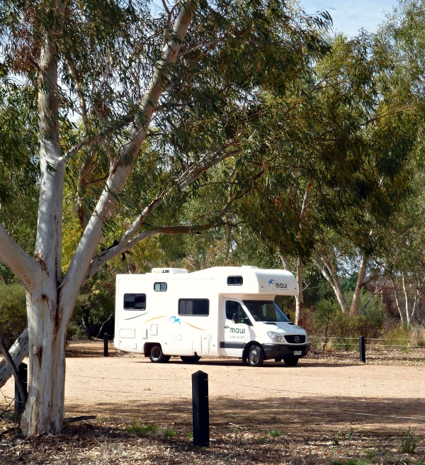 Campervan parked up by trees so we can enjoy some breakfast