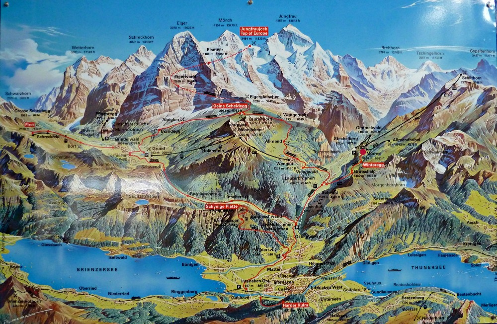 travel highlights Jungfrau Map