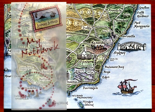 South East Australia pictorial map on the front cover of an A6 Notebook