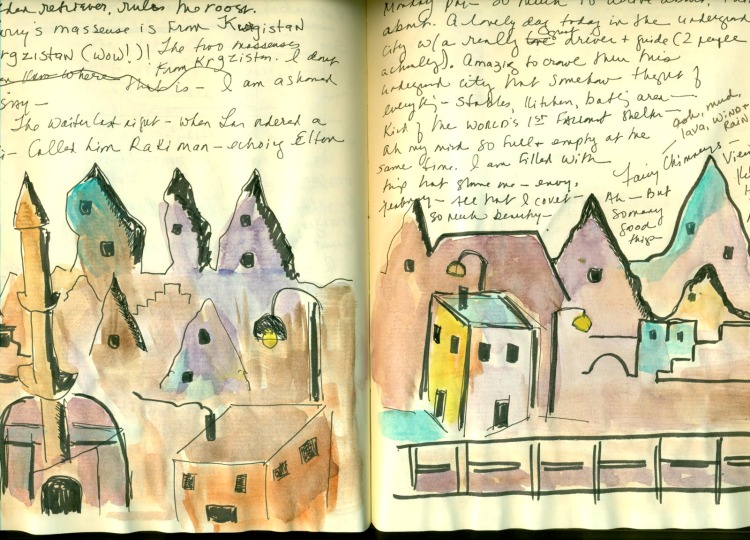Travel Journal pages showing watercolour sketches