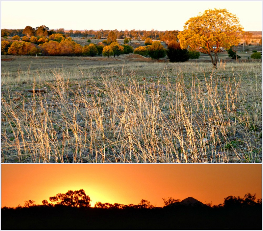 Sunset on an outback queensland road trip