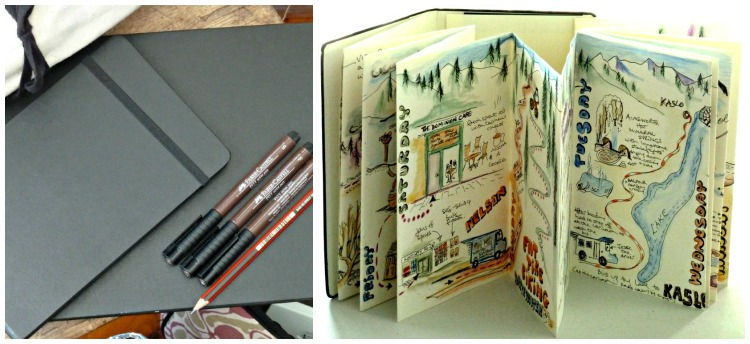 Travel journals, large and small