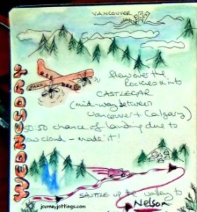 Travel journal entry about flying from Vancouver to Castlegar