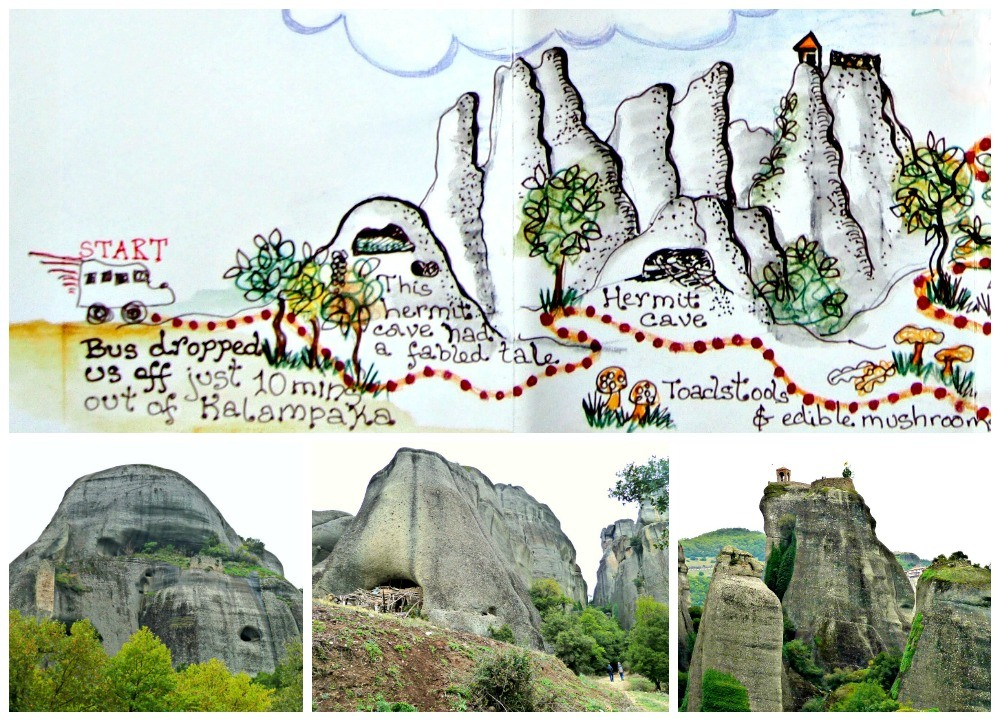 Pictorial map showing the hike at Meteora