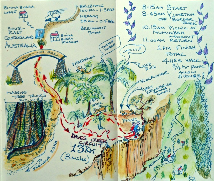 Binna Burra Walk in the Lamington National Park pictorial Map
