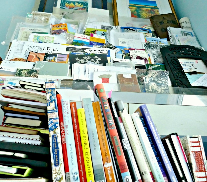 The mess of books and paraphernalia that needed a declutter