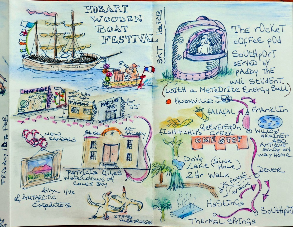 The pen and ink line drawing now coloured to revel the complete story map