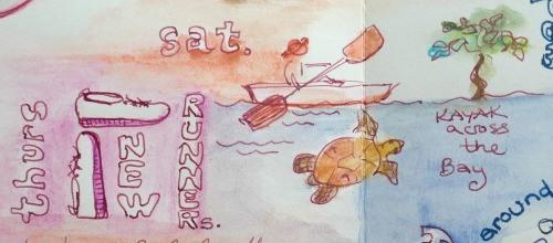 Illusting kayaking for a travel journal