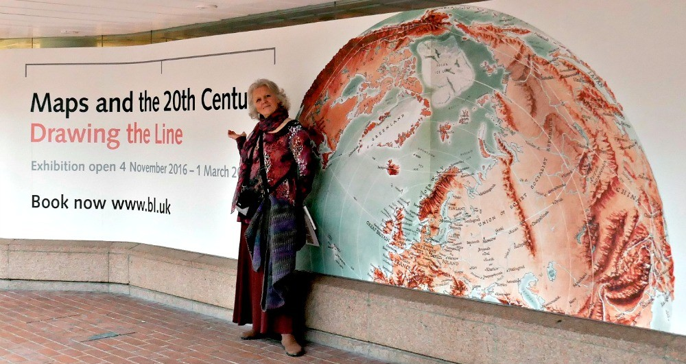 Linda Fairbairn attending the Maps and the 20th Century exhibition at the British Library