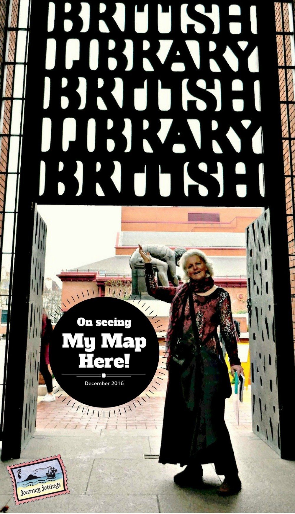 Standing outside the British Library having just seen my map there on exhibition