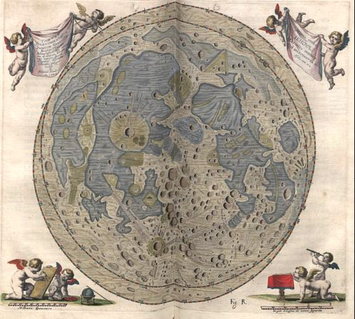 Moon Map by Johannes Hevelius dated 1645