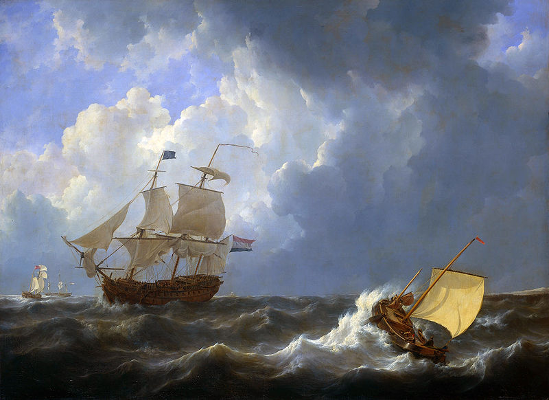 Ships_on_a_rough_sea_(Johannes_Christiaan_Schotel,_1827)