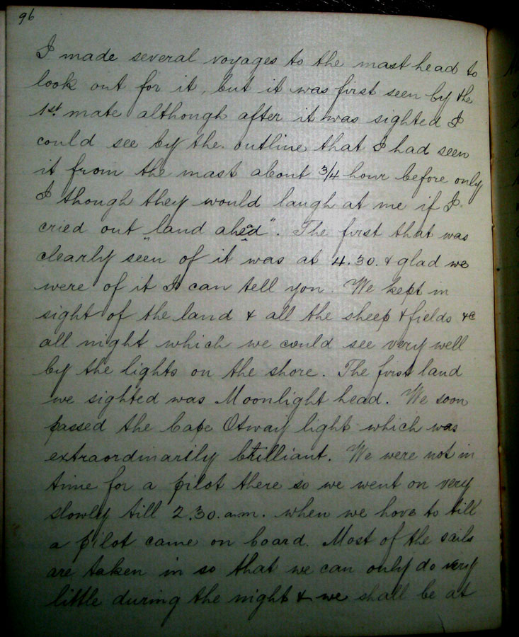 antique hand written journal about sighting Cape Otway after 90 days at sea