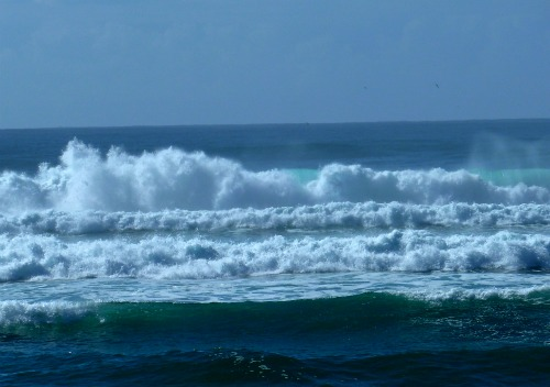 White frothy waves pounding the Australian shore