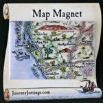 Monkey Mia pictorial map set onto a fridge magnet