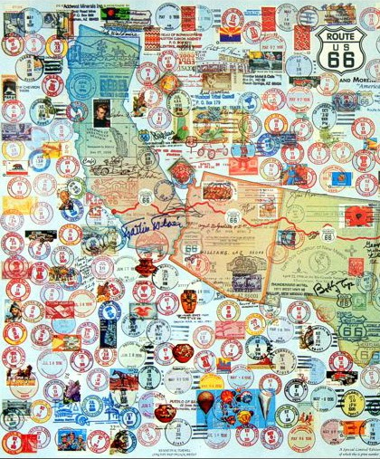 Route 66 Post Office Stamp Map