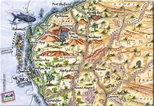 Ningaloo & Pilbara Puzzle Postcard Map