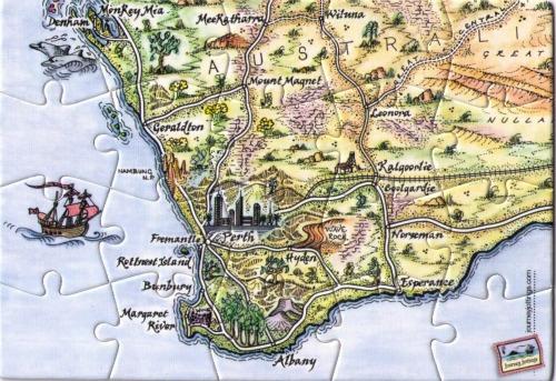 SW Western Australia Puzzle Postcard Map