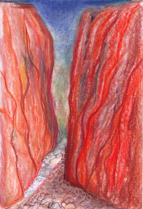 A pastel sketch of Standley Chasm