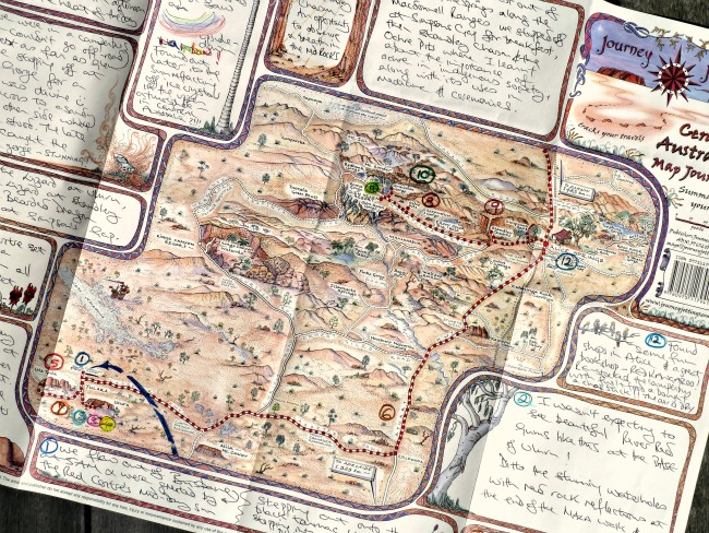 Pictorial map journal of central Australia to record your holiday adventures