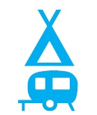 Pictogram symbol for a camping caravan park