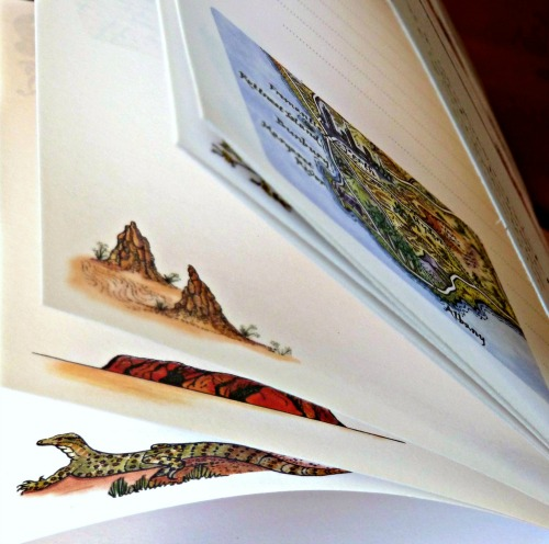 Drawing of a Perentie Lizard in Australia illustrating a Journey Jottings Notebook page