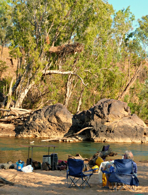 Afternoon light on camp spot on the banks of the Katherine River