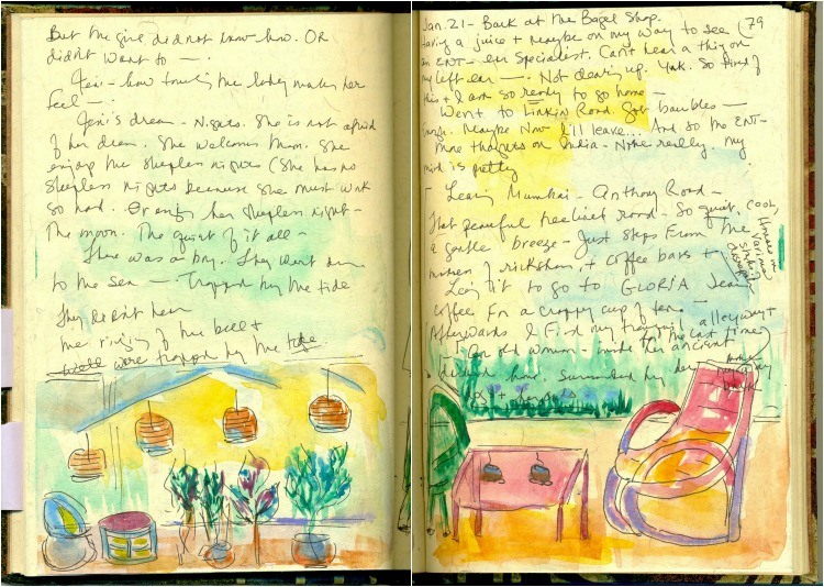 Handwritten travel journal with sketches