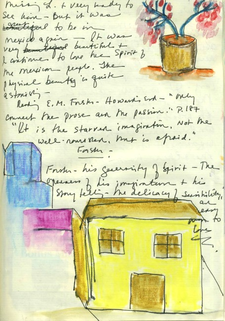 Travel journal page written by hand and illustrated with sketches