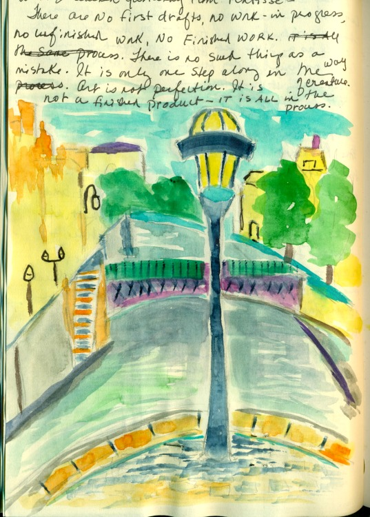 Watercolour sketch in a travel journal by Mary Morris