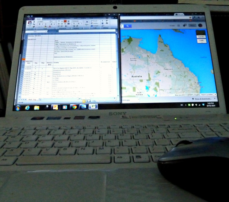 Favourite equipment for planning a trip - the internet and a spreadsheet