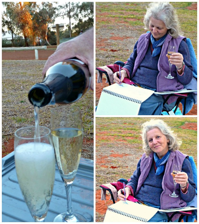 Enjoying a glass of bubbles in the camp ground at Uluru