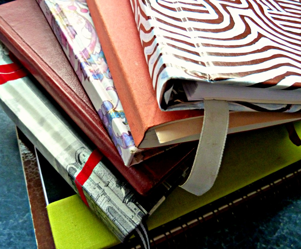 Pile of travel journals