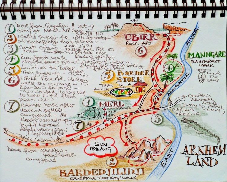 Story Map of my day from my travel journal when visiting Kakadu, Australia
