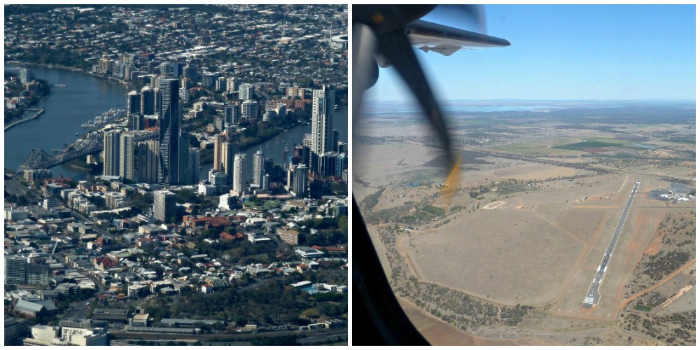 City to Outback view from the air-plane window