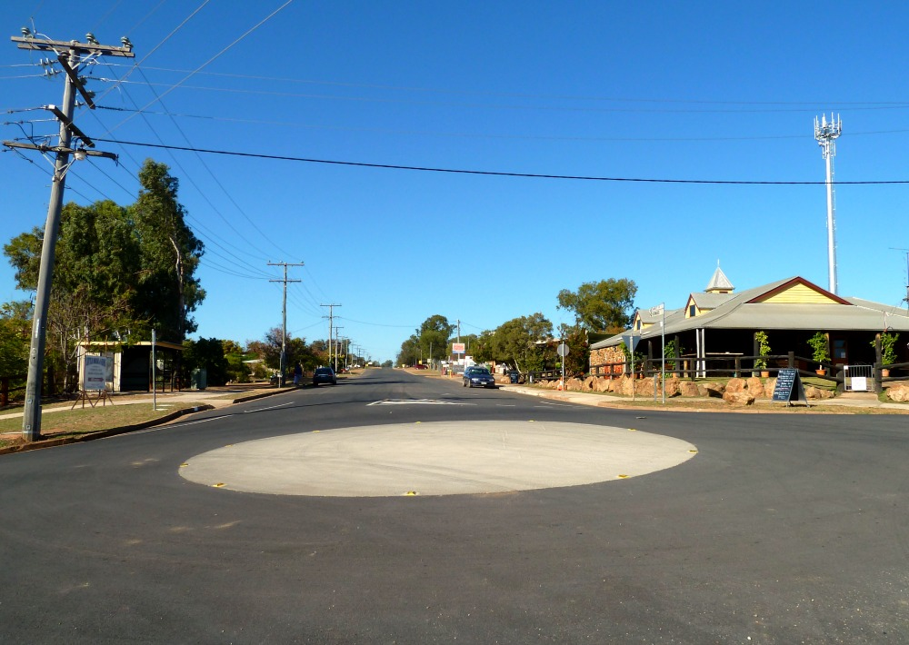 Roundabout in outback Australia at rush hour