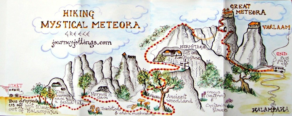 Pictorial map showing the hike to Great Meteora