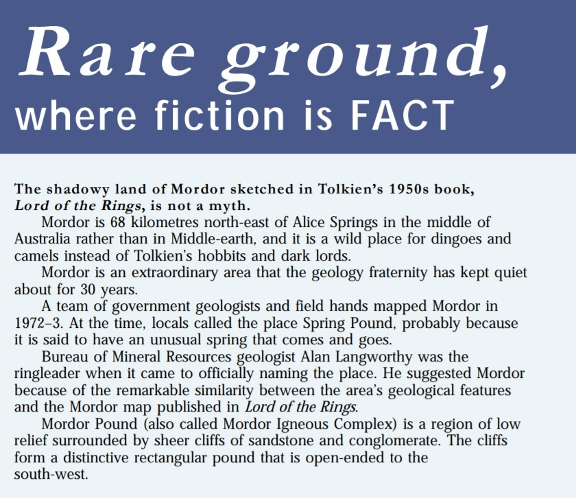 Text explaining where Mordor can be found in Central Australia