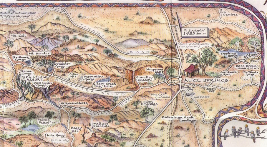 Detail from the pictorial Central Australia Map Journal featuring Alice Springs